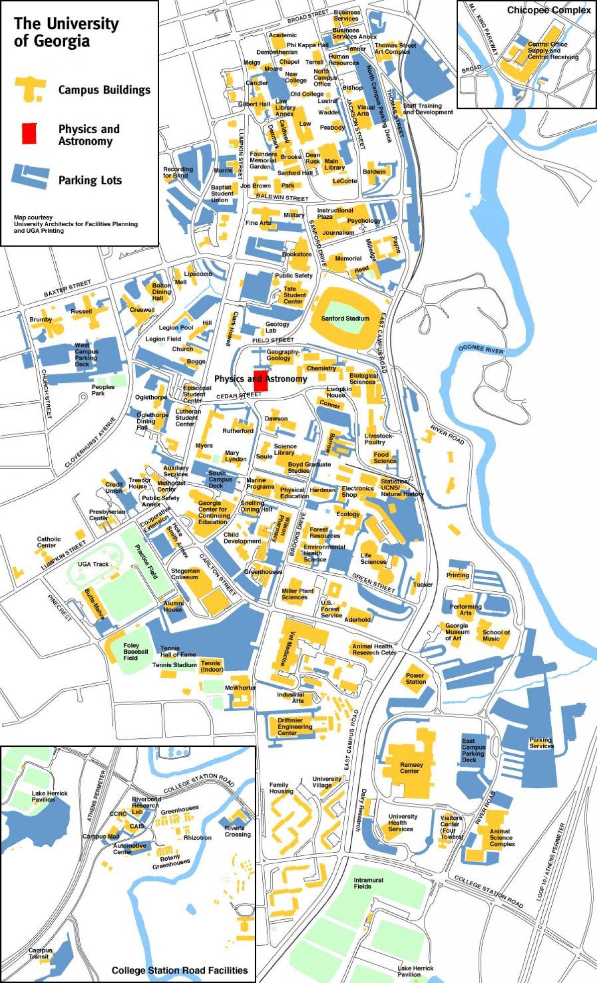 Uga El Mapa Del Campus De La Universidad De Georgia El Mapa De - Mapa de georgia